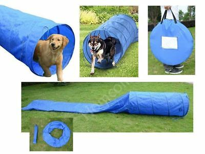 Pet Agility Training Set Doggies Obstacle Course Blue 5-Meter Polyester Tunnel