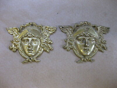 Antique Brass Decoration / Ornamentation for Clocks ~ Pair Classical Face Masks