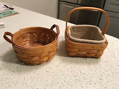 Longaberger Baskets~LOT 2~Small Saffron ~Small Berry w/ Oatmeal Liner Protector