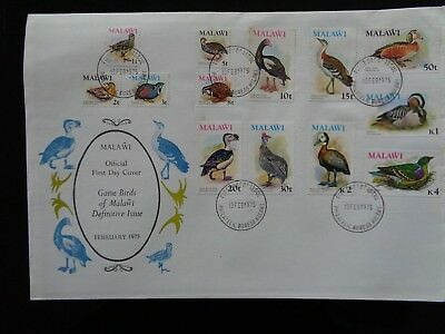 MALAWI 1975 GAME BIRDS DEFINITIVE SET OF 13v ILLUSTRATED FIRST DAY COVER