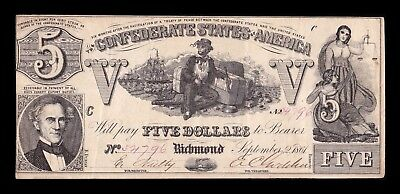 B-D-M United States 5 Dollars Confederate States of America 1861 Serie A