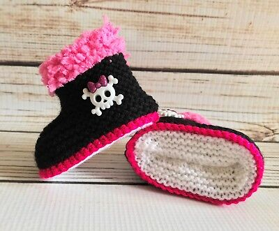 38ae93a31bcf9 BABY GIRL GOTH Emo Punk Hand Knitted Booties/Boots Skull Crossbones 0-12M  Black