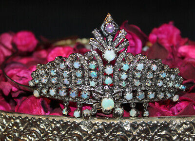 16.20cts Rose Cut Diamond Sapphire Antique Victorian Look 925 Silver Hair Tiara Low Price Jewelry & Watches Bridal & Wedding Party Jewelry