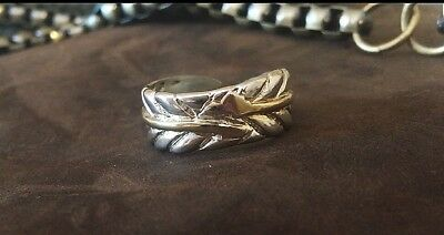 Vintage Sterling Silver American Indian Handmade Feather Ring