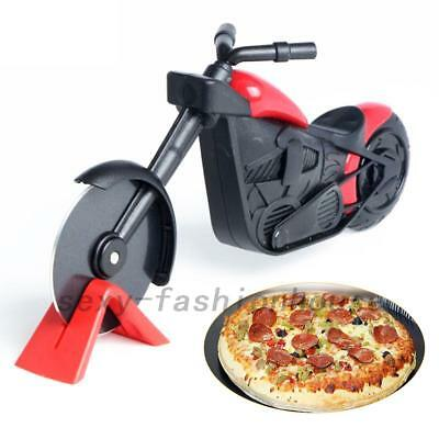 Non-stick Motorcycle Pizza Cutter Chopper Slicer Kitchen Tools With Stand AU