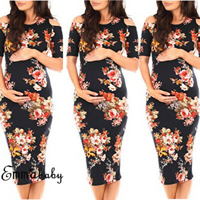 AU New Maternity Gown Pregnant Women Chiffon Floral Dress Photography Clothes