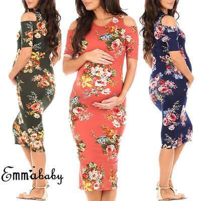 US New Women Photography Prop Maternity Maxi Gown Strapless Split Front Dress