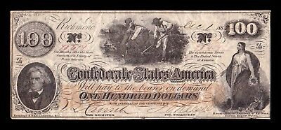 B-D-M United States 100 Dollars 1862 Confederate States of America Serie Z BC F