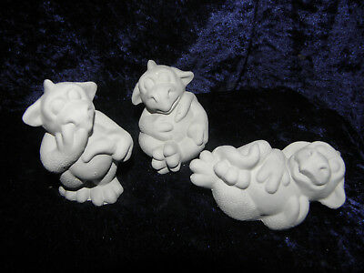 Ceramic Bisque Ready To Paint Family of Baby Dragons