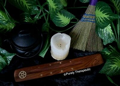 PENTAGRAM INCENSE HOLDER BURNER ASH CATCHER Pentacle Wicca Pagan Wood Brass