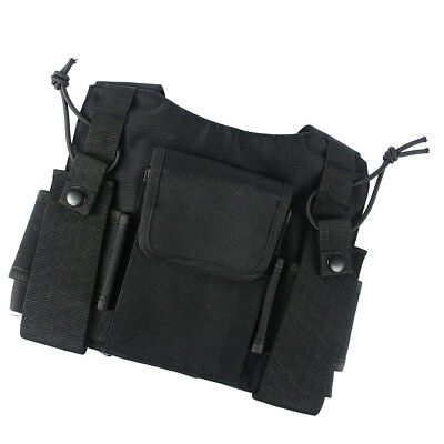 Radio Chest Harness 2 Way Holster Holder Storage Vest Hiking Camping Black