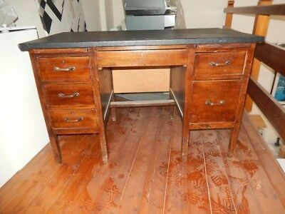 vintage classic traditional solid oak wooden twin pedestal writing office desk