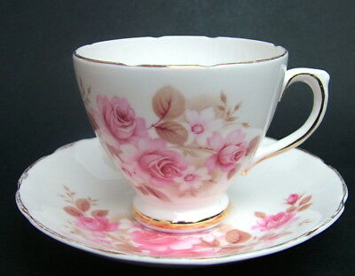 Royal Sutherland Pink Roses Brown Leaves Pattern Tea Cup & Saucer Looks in VGC