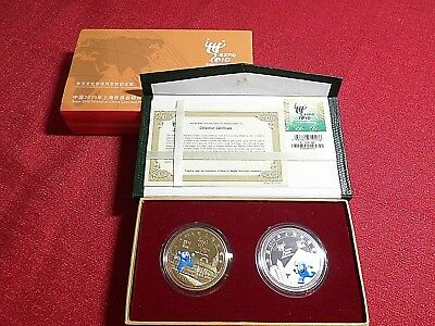 Set 2 Coins: Expo Shanghai China 2010, Gold Plated Silver Plated, with COA & Box