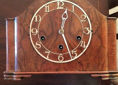 antique Walnut Mantle Clock And Key