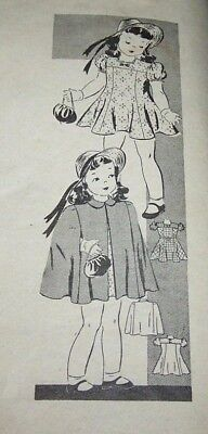 Antique #9274 Marian Martin Pattern-Girl-Sz 4-Dress And Cape-Complete