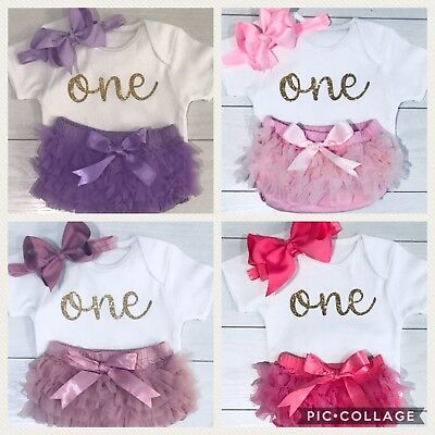 Baby Girls Cake Smash Outfit 1st First Birthday Set Tutu Knickers & Top Pink One