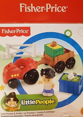 NEW Fisher-Price Little People Farm Tractor & Trailer