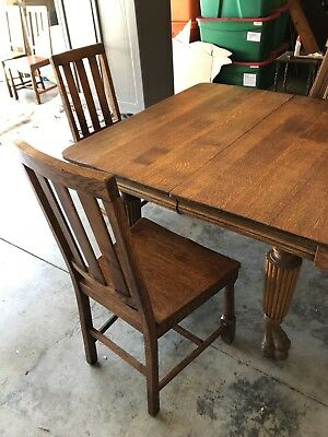 Antique Circa 1900s Oak Dining Table Claw Foot w/ 4 Oak Chairs Los Angeles area
