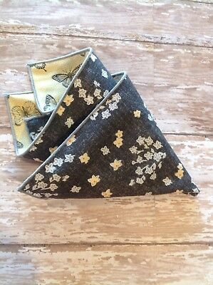 NEW Men's Pocket Square Black Yellow White Gray Floral Butterfly Trim Reversible