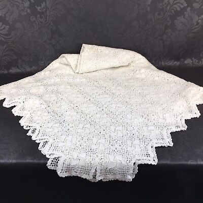 "New Vintage Linen Crochet Large 88"" X 50"" Tablecloth Table Lace"