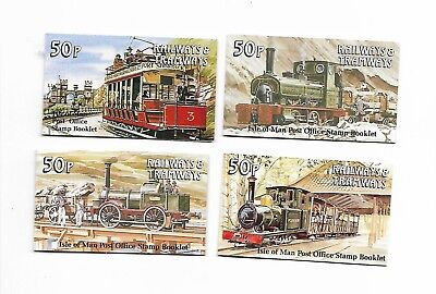 Isle Of Man 4 x 50p Railways And Tramways Postage Stamp Booklets 1990s