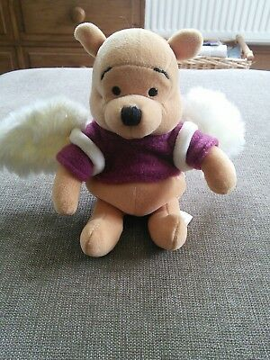 """Disney Store,  Winnie the Pooh 8"""" beanie plush, Pooh Dreams with Wings, Angel"""