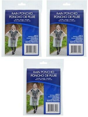 1pc Clear Plastic Polyethylene Rain Coat Poncho w/ Hood Reusable Outdoor Travel