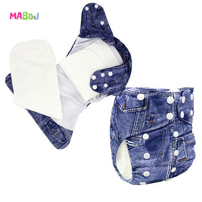 MABOJ Bamboo AIO Cloth Diapers One Size Adjustable Cowboy Printed for Boy Diaper