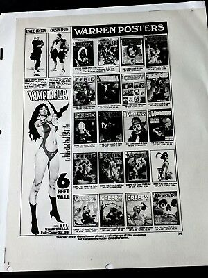 Creepy Magazine #77 1976 VAMPIRELLA 6ft POSTER AD Publisher File Positive