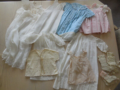 Lot 12 Antique Vtg Baby/Doll Clothing, Haddad Embroidered Christening Gown Set