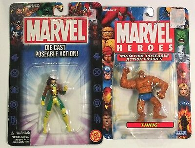 """Lot of 2 Marvel Poseable Die-Cast Action Figures Jean Grey 2.5"""" Thing 2"""" NIP"""