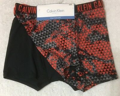 Calvin Klein Athletic 2-Boy's Boxer Briefs Medium 8-10  Orange Geo-Black - 6494
