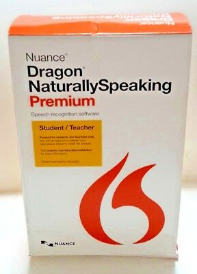 New NUANCE Dragon Naturally Speaking Premium 13 Student / Teacher w Microphone