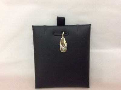 10k Yellow/White REAL Gold Cute Textured Flip Flop Sandal Charm Pendant  .7g