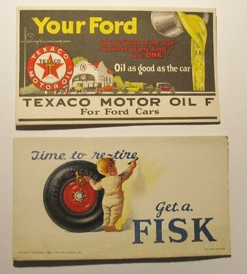 lot of 2 Vintage Advertising Blotter Cards Texaco Oil for Fords & Fisk Tires