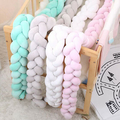 Baby Bedding Bumper Cushion Braided Crib Colorful Knotted Pillow Safe Protector