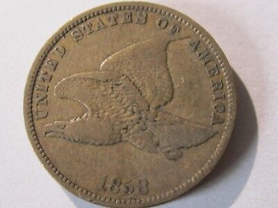 1858 Flying Eagle SL cent   VF cond    Semi-Key Date   Collection Lot# AP-4