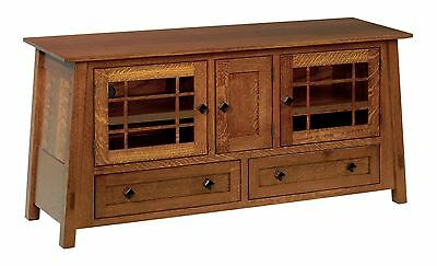 "QUICK SHIP Amish Mission McCoy TV Stand Cabinet Console Solid Wood 60"" QSWO"