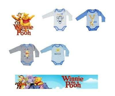 Baby Boys Disney Winnie The Pooh  2 Pack Body Suits 0 - 36 mths Cotton Romper