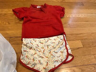 Vintage kid Girls outfit shirt and shorts set size 6 - some stains