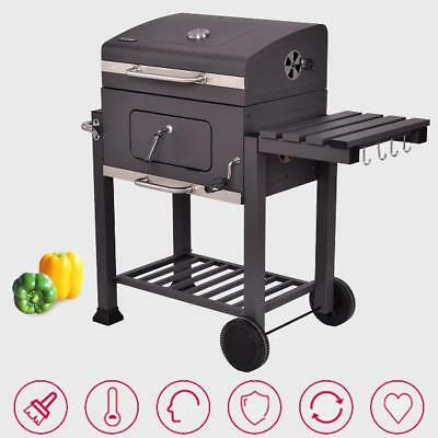 Charcoal Wood Grill With Wheels Portable Outdoor Barbecue Backyard Patio BBQ