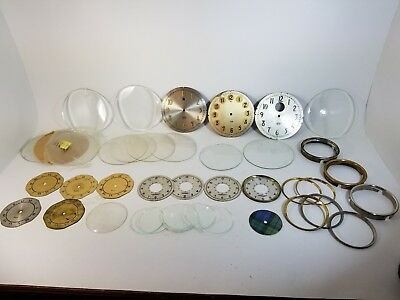 Lot Rare Sangamo Clock Dials Faces Raised # Bezels Glass Crystals Concave