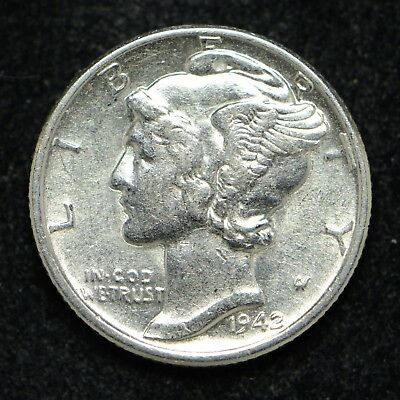 1942 Mercury Silver Dime Higher Circulated Grade Cleaned (bb1304)