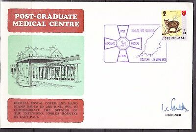 GB - Isle of Man 1975 Medical Centre cover signed by designer