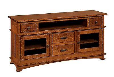 Amish Mission Kenwood TV Stand Cabinet Solid Wood Glass Doors Drawers