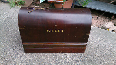 Antique Mechanical Black & Gold Singer Sewing Machine in Wooden Carry Case
