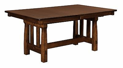 Amish Kendore Mission Arts & Crafts Trestle Dining Kitchen Table Solid Wood