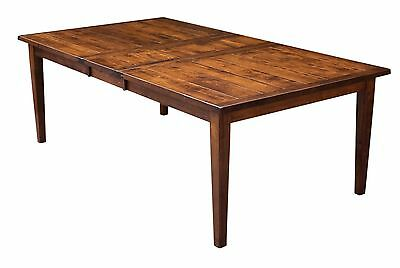 Amish Plank Farmhouse Shaker Dining Table Expandable Rectangle Solid Wood
