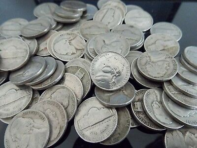 Jefferson Nickel Roll (40) Average Circulated Coins Mixed Dates 1938-1959